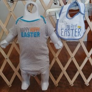 9 months first Easter onsie and bib